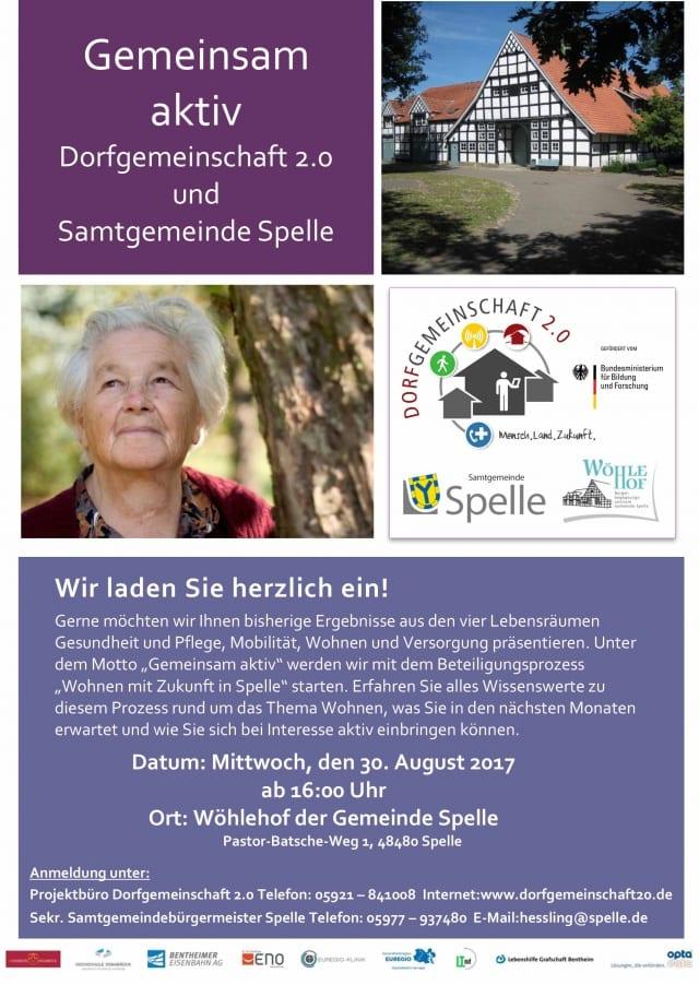 """Einladung zur Jahresveranstaltung des Projektes """"Dorfgemeinschaft 2.0"""" und der Samtgemeinde Spelle"""